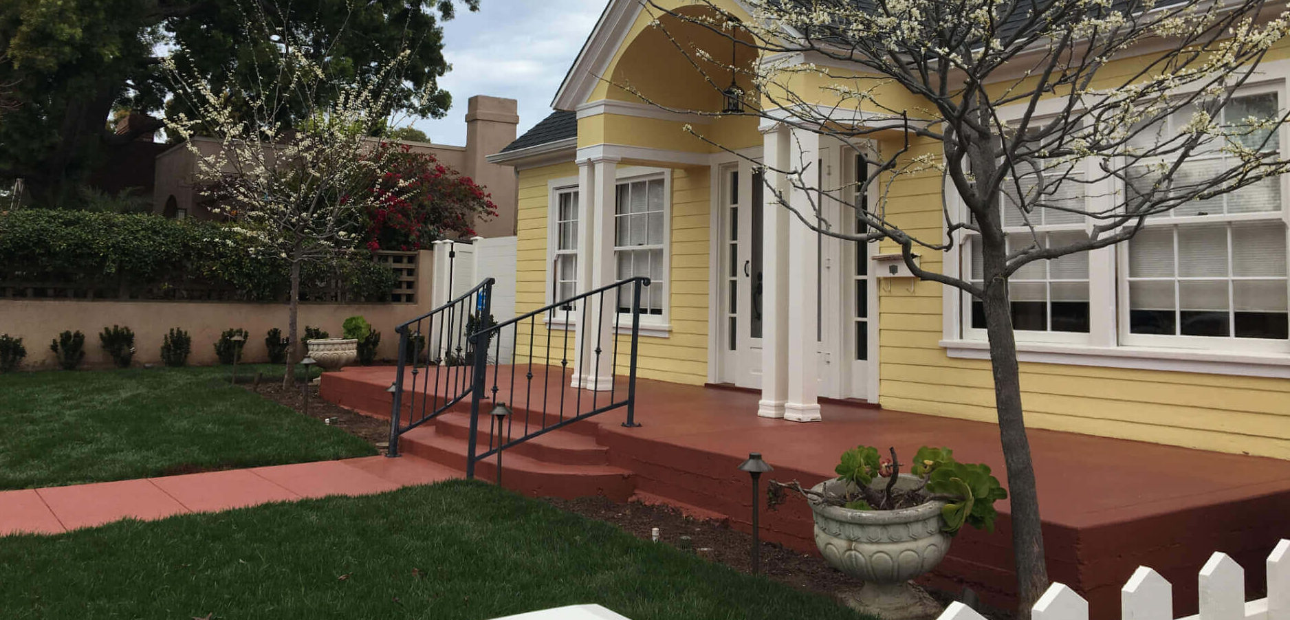 Can you believe it? This concrete started out as old, faded and mismatch! A beautiful historic restoration in Mission Hills, California needed a concrete remodel that was just as high quality and impeccable as the overall home restoration.