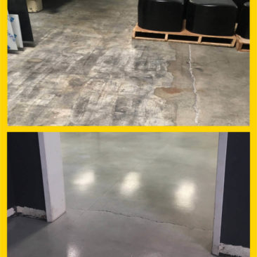 Warehouse flooring using concrete staining by Concrete Remodelers.